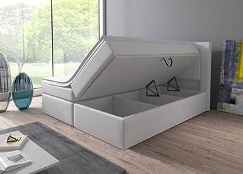 Boxspringbett weiß mit bettkasten  Boxspringbett 160x200 180x200 Weiß mit Bettkasten LED Kopflicht ...