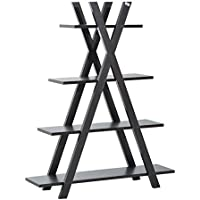 HomCom 4 Shelf X Framed Design Free Standing Storage Display Bookcase (Black)