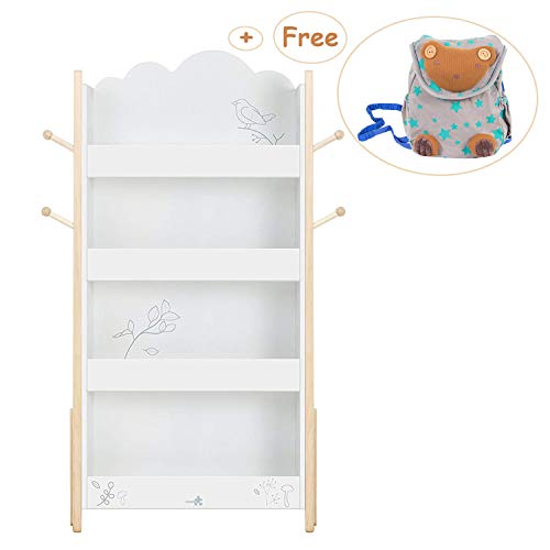 splay, Wood White Bookshelf for Kid 1 Year Up, Kid Bookshelf White/Baby Bookshelf/Child Bookshelf/White Bookshelf for Girl&Boy Room/Bookshelf White/Kid Book Rack ()