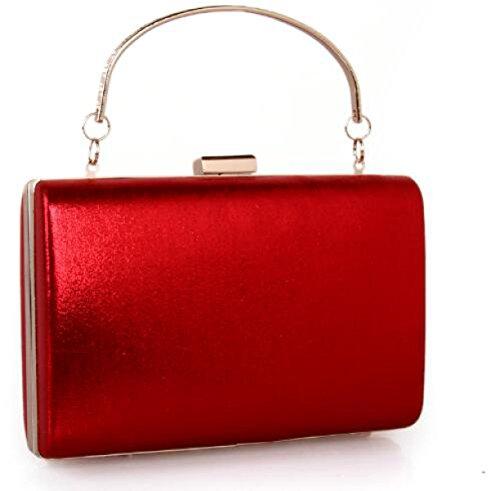 Hilo De Rosca Metal Rhinestone Bolso De Tarde Caja Pequeña Diamante Embrague Bolso De Tarde Novia Embrague Red