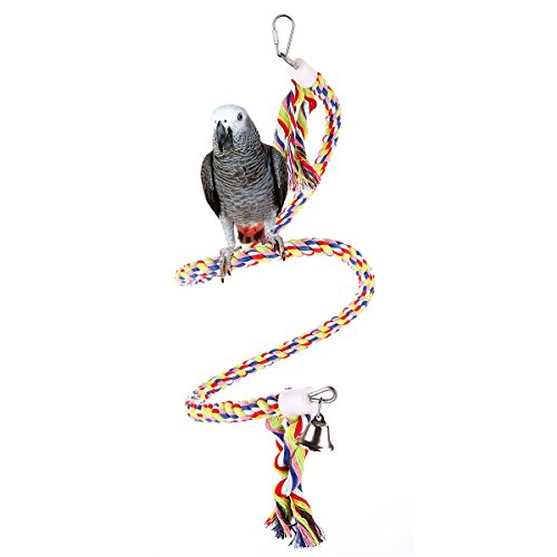 Bvanki Bird Toys,94 inch Long Parrot Bungees Rope Toys, Large Medium and Small Parrot Toys Spiral Standing Toys