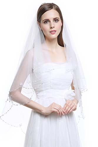 MISSYDRESS 2T Fingertip wedding Bridal Veil Scalloped Beaded Edge-V29 White