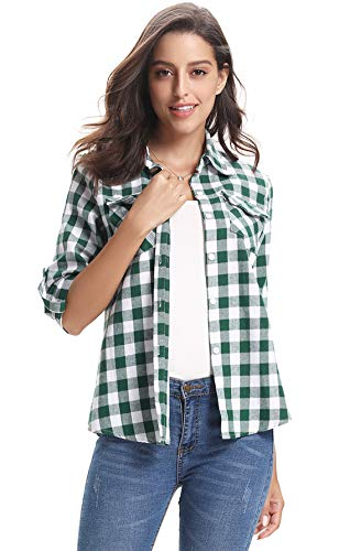 (Abollria Women's Roll up Long Sleeve Boyfriend Button Down Plaid Flannel Shirt (Green)