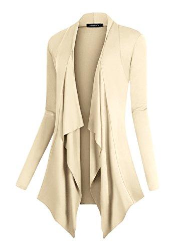 (Urban CoCo Women's Drape Front Open Cardigan Long Sleeve Irregular Hem (M, Silver Mink))