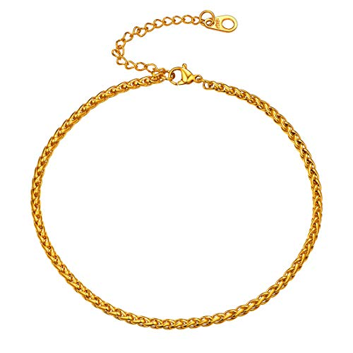 - U7 Women Girls 3MM 18K Gold Plated Rope Wheat Chain Bracelet Anklets, Fit 25-30CM Leg Barefoot Jewelry
