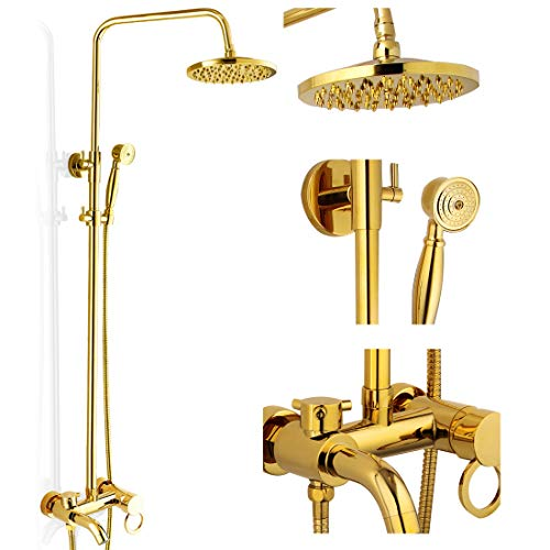 Polished Gold Shower Set 8-Inch Rainfall Shower Head Brass Shower Faucet Kit With Hand Held Spray High End Luxury (Hardware Polished Shower)