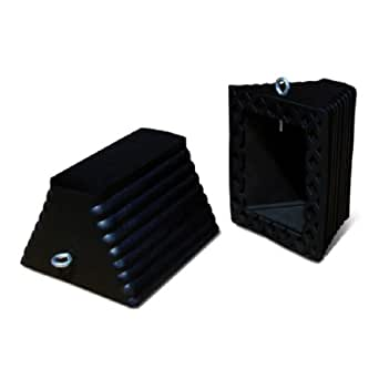 Black Roadblock RC450 Rubber Wheel Chock with Void Bottom 5.5 Height 10 Length 8 Width