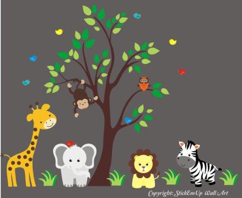 Nursery Wall Decals - Safari Animal Wall Stickers - Baby Room Ideas - Baby Shower Gift - Kids Room Wall Decor - Safari Animal Wall Prints - Baby Stuff