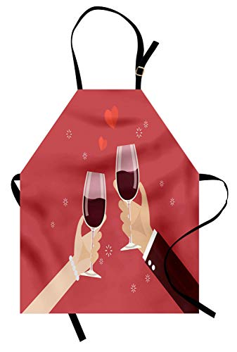 Lunarable Valentines Day Apron, Man and Woman Toasting Wine Glasses Anniversary Celebration, Unisex Kitchen Bib with Adjustable Neck for Cooking Gardening, Adult Size, Coral Burgundy]()
