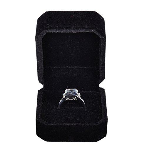 HooAMI Velvet Jewelry Gift Box Case for Wedding Engagement Ring Earring Black