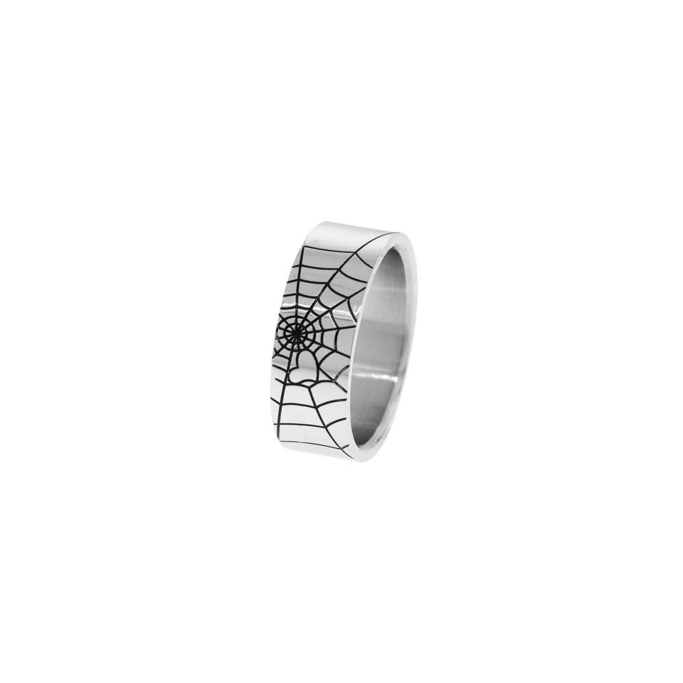 Spider Web Laser Inlay Mens Stainless Steel Ring   Size 13