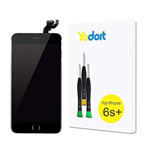 for iPhone 6s Plus Touch Screen Replacement - Yodoit LCD Display Digitizer Glass Full Assembly with Small Parts Camera Proximity Sensor Home Button Earpiece Speaker 3D Touch + Tool (5.5 inches Black)