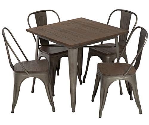 FDW 5-Piece Patio Table Set Outdoor Table and Chairs Set Metal Table Set Home Kitchen Dining Tab ...