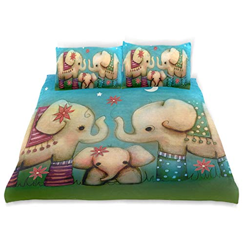 - OSBLI Bedding Duvet Cover Set 3 Pieces Baby Elephant Painting Bed Sheets Sets and 2 Pillowcase for Teens