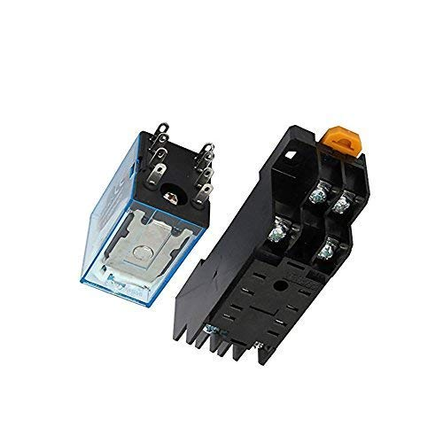 Yohii DC12V Coil 8 Pins Electromagnetic Power Relay with Socket Base 2pcs