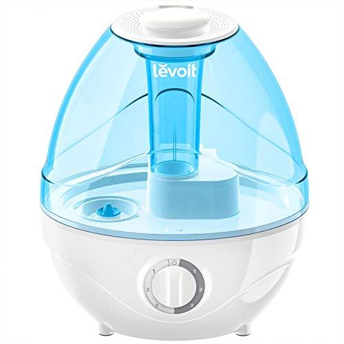 LEVOIT Humidificadores de niebla fría para dormitorio, vaporizador de aire ultrasónico de 2,4 l para bebés [sin BPA], ultra silencioso de 24 dB, luz nocturna opcional, sin filtro, 0,63 gal, azul