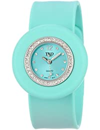 """ORLOGI Women's TK598-TQ """"Ice Mini"""" Crystal-Accented Watch with Turquoise Rubber Band"""