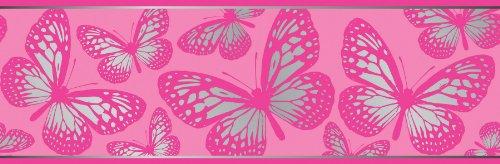 Butterfly Border Wallpaper Pink (Fun4Walls BO31270 BO31270 Butterflies Peel and Stick Border)