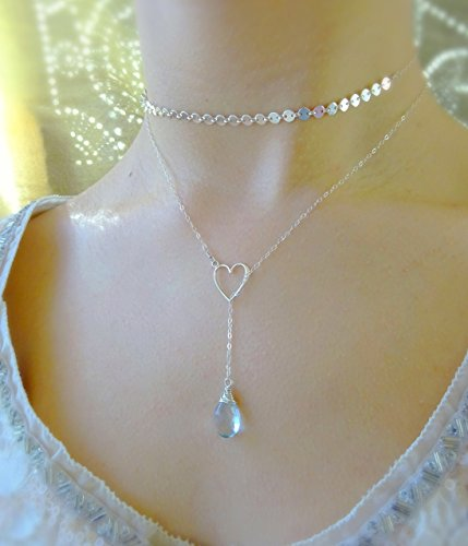 Custom Gemstone Heart Lariat, Y Style Necklace, Bridesmaids Bridal Wedding Gift, Love Charm, Otis B (Heart Briolette Charm)