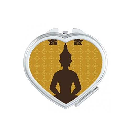 Kingdom of Thailand Thai Traditional Customs Culture Buddhism Buddha Statue Art Illustration Heart Compact Makeup Pocket Mirror Portable Cute Small Hand Mirrors by DIYthinker