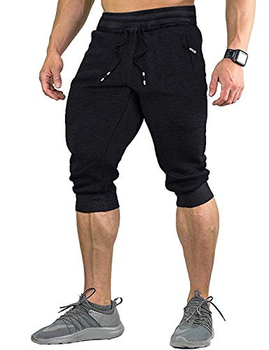 HaoDian Mens 3/4 Fitted Workout Running Shorts Capri Jogger Pants Cotton Sweatpants with Zippered Pockets