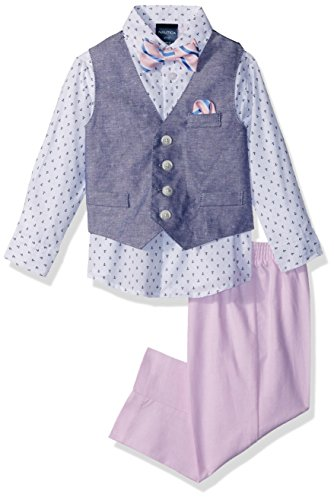 - Nautica Boys' 4-Piece Vest Set with Dress Shirt, Bow Tie, Vest, and Pants, Medium Pink Basketweave, 7