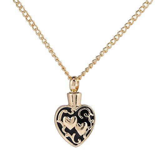 (Qiterr Memorial Necklace, Retro Pet Memorial Necklace Herat-shpaed Keepsake Dog Cat Ash Holder Pendant)