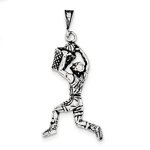 Sterling Silver Antiqued Basketball Player Charm (1.5IN long x 0.9IN (Male Basketball Player Charm)