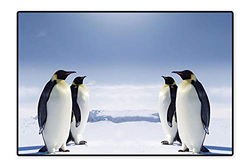 Kid Non Slip Rug Pad Two Pairs of Penguins Facing Each Other at The South Pole Sunny Antarctica Dual Surface 6'x7' (Facing Pull Rooster)