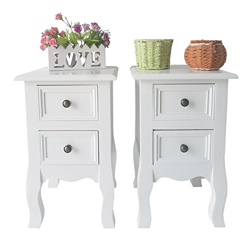 Country Style Bedside Table Nightstand Cabinets with Storage Drawer Night Stand Set of 2 Bedroom Furniture (Bedroom Country Nightstand)