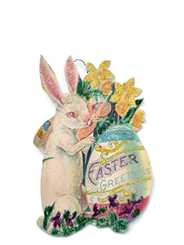 Easter Ornament Decoration, Bunny Painting Victorian Postcard Handmade Gift