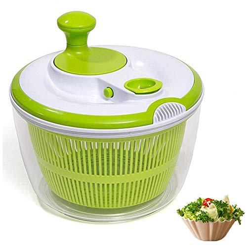 (DenSan Crank Handle & Locking Lid Multifunction 4.5 Quart Manual Good Grips Vegetables Dryer Dry Off Drain Quick Filter Lettuce vegetable Salad Spinner(Green))