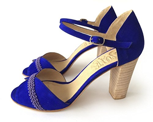 Heel sandal in blue suede by June Handmade