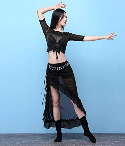 Vtements Belly du de Tops Jupe Femme Danse et Dance Set Ventre Performance YiiJee Noir xw0zRBq