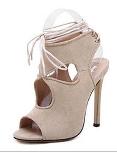 ShangYi Women's Shoes Suede Stiletto Heel Open Toe Sandals Casual Black / White Black HZl7cYX
