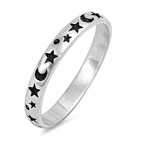 Sterling Silver Shiny Women's Moon & Star Ring (Sizes 2-12) (Ring Size 8)