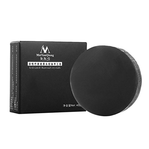 JUNKE Deep Cleansing Skin Activated Carbon Crystals Face Handmade Soap (free size, (Mica Black Lid)
