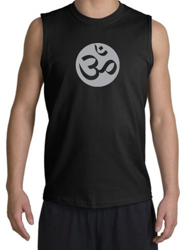 A&E Designs OM OHM Symbol Sign Yoga Meditation Sleeveless Muscle Shirt Tanktop Tank Top Shooter - Black, Large