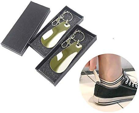 2個セット キーホルダー 靴べら ステンレス製 携帯便利 耐用 長い約 75mm