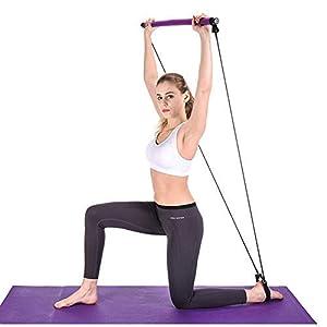 BEFANS Kit de Barre de Pilates Portable avec Bande de résistance, Barre d'exercice de Yoga avec Boucle de Pied pour Le…