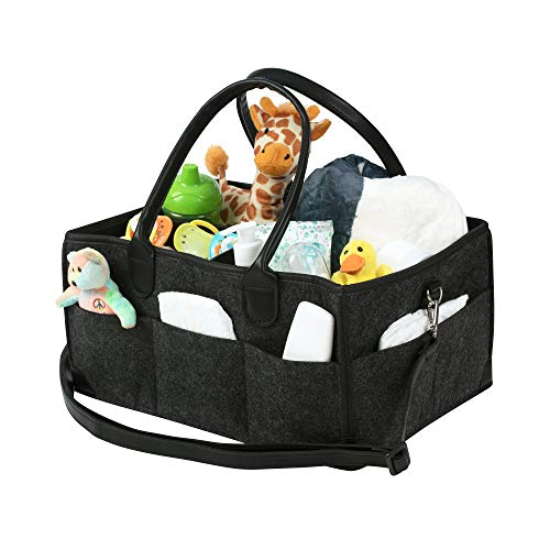 Baby Diaper Caddy Organizer| Travel Bag for Diapers,Toys, Bottles & Clothes | Newborn Essentials Storage with Gender-Neutral Design for Mom/Dad | Best Portable Shower Registry Gift