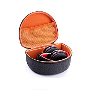 Esimen Headphone Case for Beats Solo2 / Solo3 Sennheiser HD 4.40 BT/HD 4.50 BTNC Wireless Headphone Carrying Bag Box (Gray+Orange)