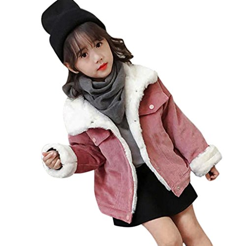 TiTCool Toddler Baby Girls Boys Corduroy Plus Plush Winter Coat Jacket Thick Outwear (Pink, 6T)