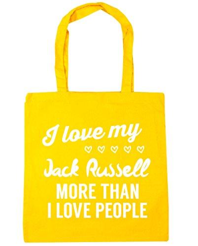 HippoWarehouse I Love My Jack Russel–más de I Love People Tote Compras Bolsa de playa 42cm x38cm, 10litros amarillo