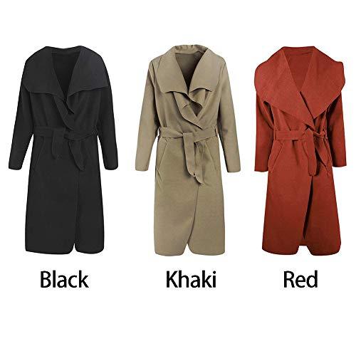 Invierno Ainstsk otoño de e para Mujer Abrigo Retro Lana Larga Manga Solapa Abrigo xS7p1xwq