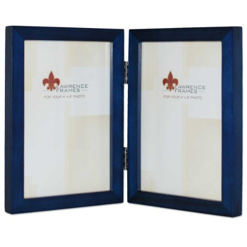 Lawrence Frames Hinged Double Blue Wood Picture Frame, Galle
