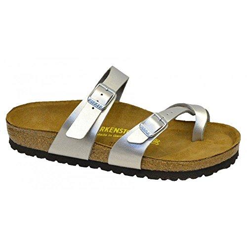 Womens Holiday Sandals (Birkenstock Womens Mayari Holiday Birko-Flor Beach Summer Flat Sandals - Silver - 6)