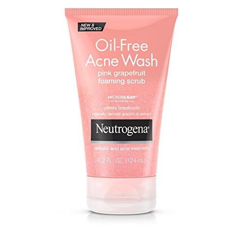Neutrogena Oil-Free Pink Grapefruit Exfoliating Acne Face Wash and Foaming Scrub with Salicylic Acid Acne Medicine, 4.2 fl. oz