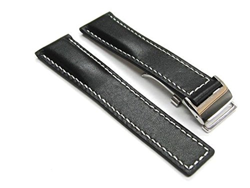 - 22MM Leather Band Strap Deployment Clasp Buckle for BREITLING Black WS PL #3C