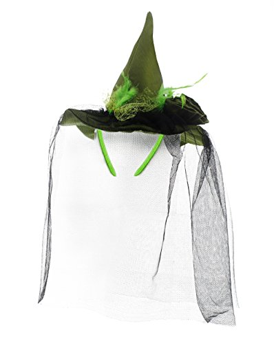 [Mini Halloween Witch Hat Headband with Veil - Halloween Costume - 7.5